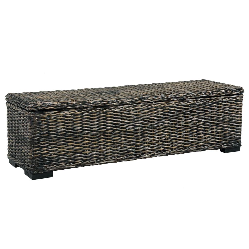 vidaXL Úložný box 120 cm čierny kubu ratan a masívne mangovníkové drevo