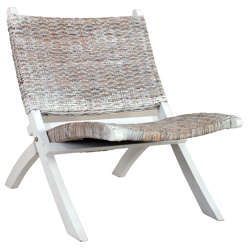 vidaXL Relaxačné kreslo, biele, prírodný kubu ratan a mahagónový masív