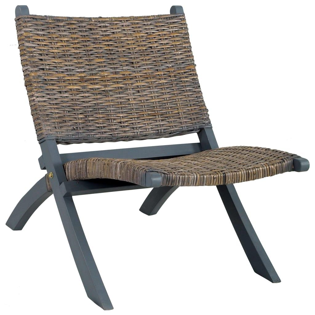 vidaXL Relaxačné kreslo, sivé, prírodný kubu ratan a mahagónový masív