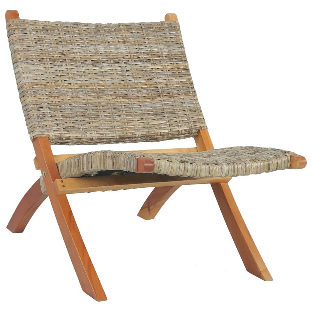 vidaXL Relaxačné kreslo, prírodný kubu ratan a mahagónový masív
