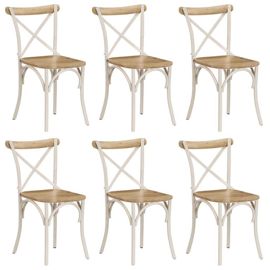 vidaXL Jedálenské stoličky s krížovým operadlom 6 ks biele mangovníkové drevo