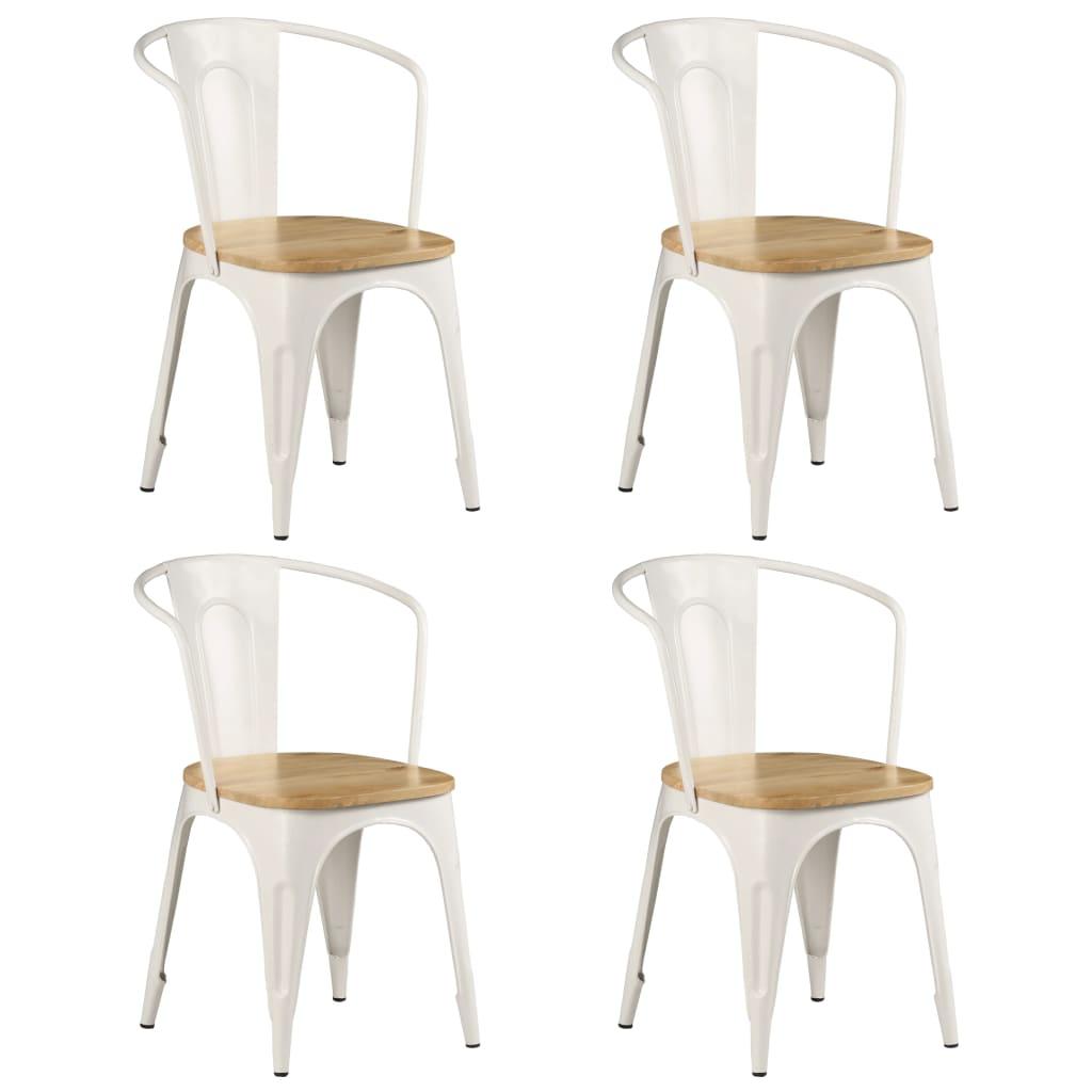 vidaXL Jedálenské stoličky 4 ks biele masívne mangovníkové drevo