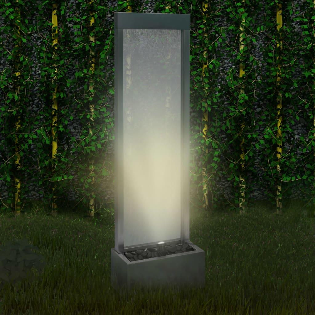vidaXL Záhradná fontána strieborná 46x24x150 cm nehrdzavejúca oceľ
