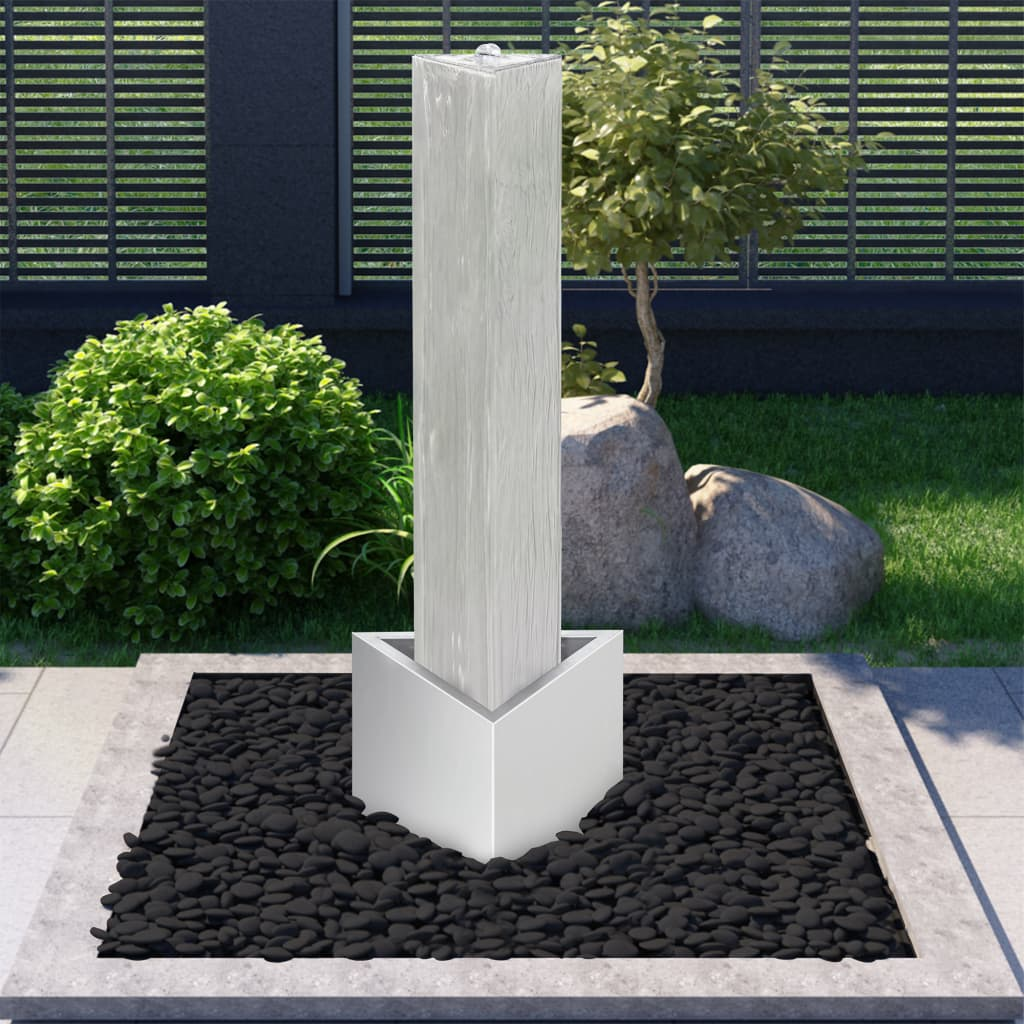 vidaXL Záhradná fontána strieborná 37,7x32,6x110 cm nehrdzavejúca oceľ