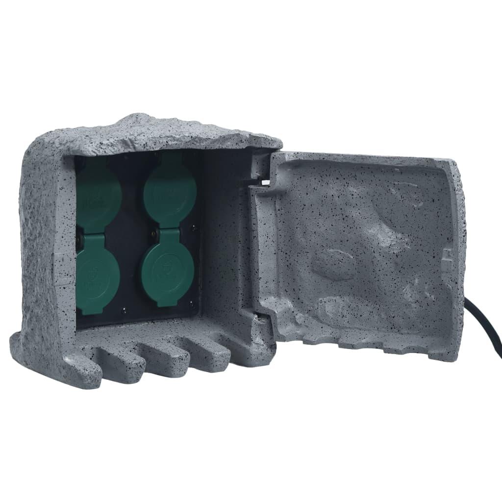 vidaXL Záhradná zásuvková jednotka so 4 slotmi polyresin vodeodolná sivá