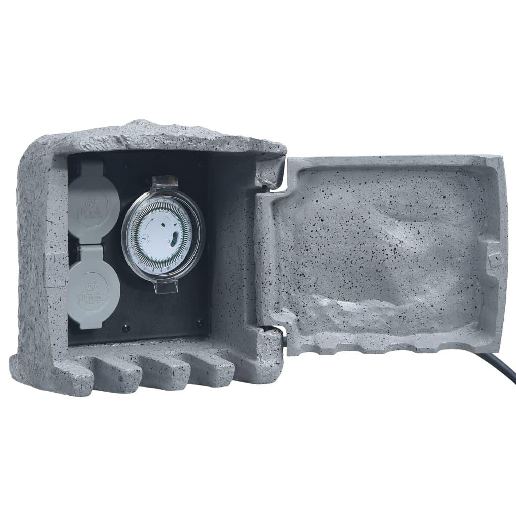 vidaXL Záhradná zásuvková jednotka s 2 slotmi a časovačom polyresin sivá