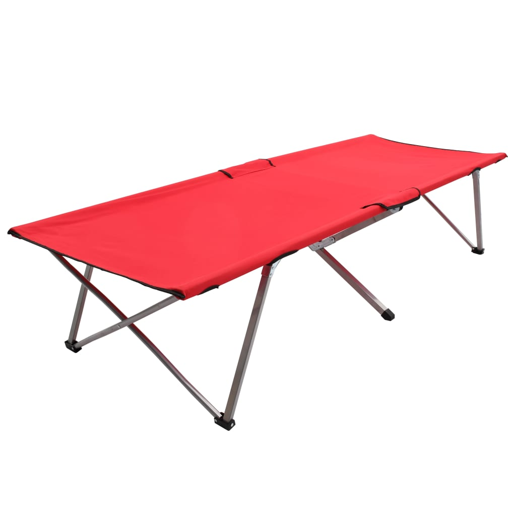 vidaXL Kempingové ležadlo 206x75x45 cm, XXL, červené