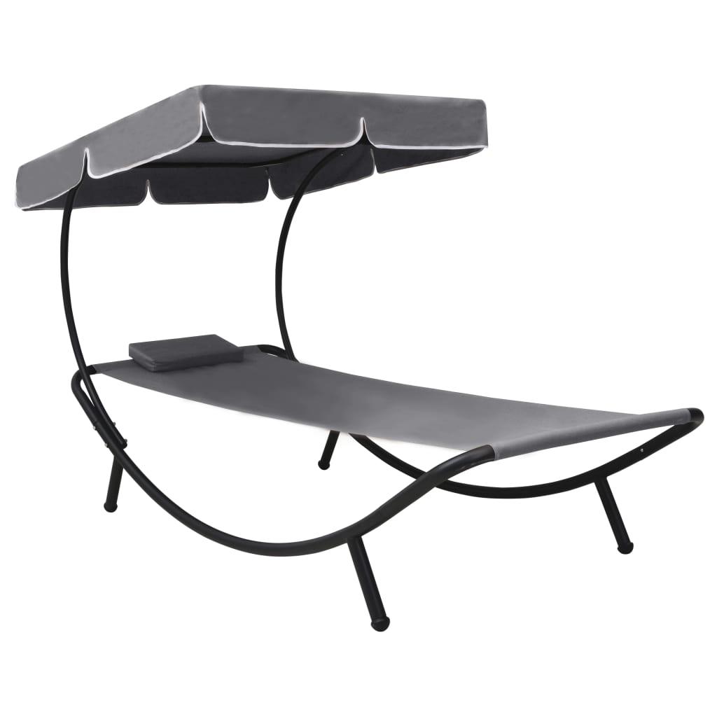 vidaXL Záhradná posteľ s baldachýnom a vankúšom, sivá
