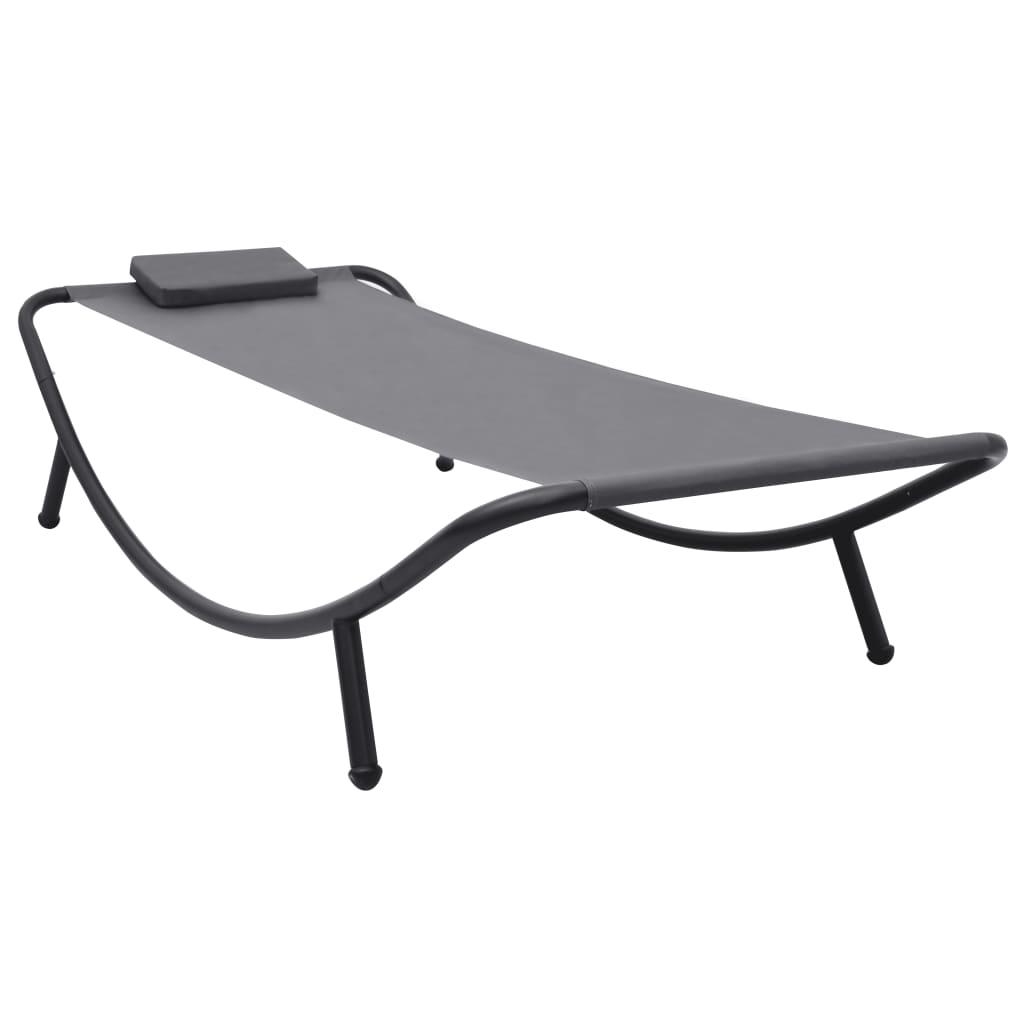 vidaXL Záhradná posteľ sivá 200x90 cm oceľová