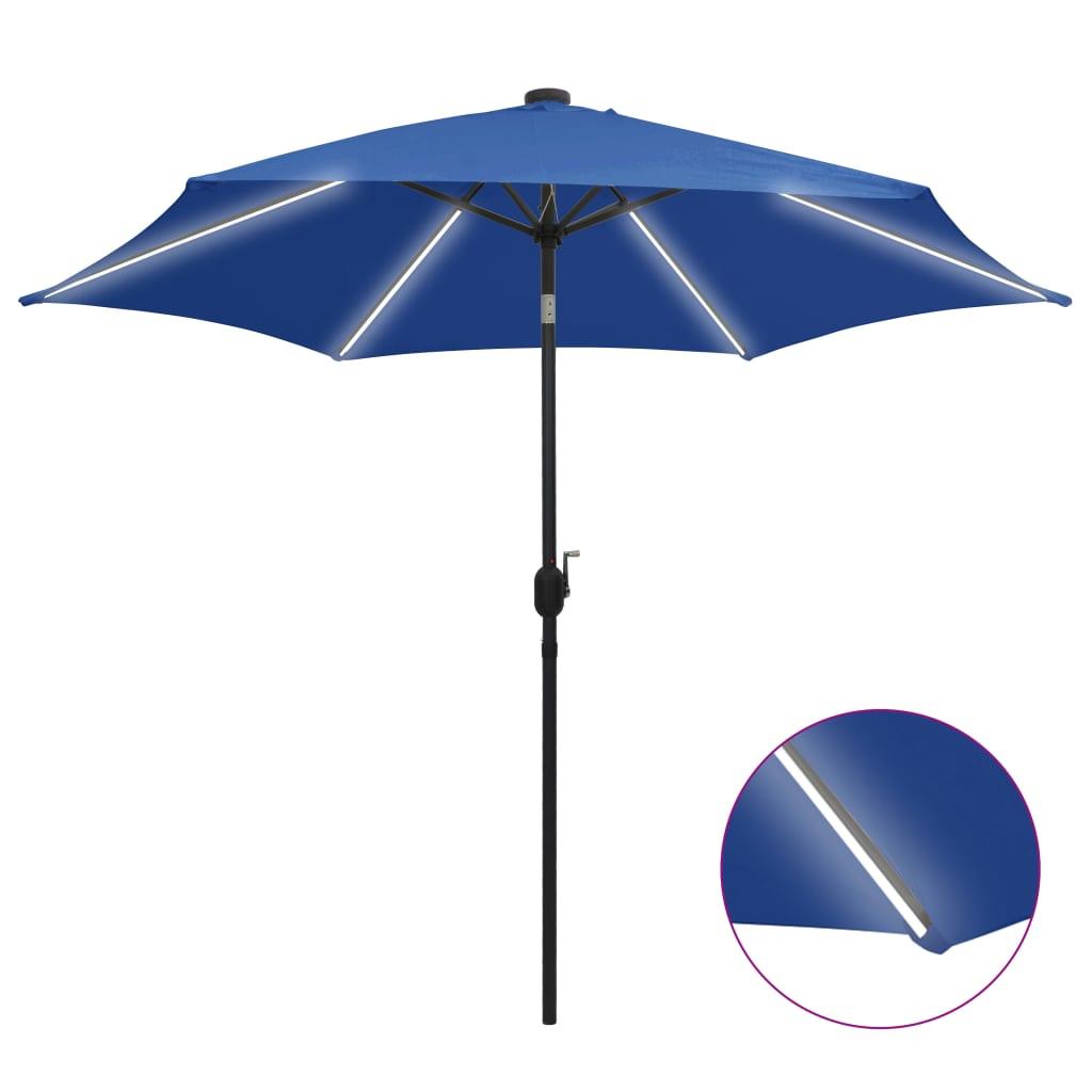 vidaXL Slnečník s LED a hliníkovou tyčou 300 cm, azúrovo modrý
