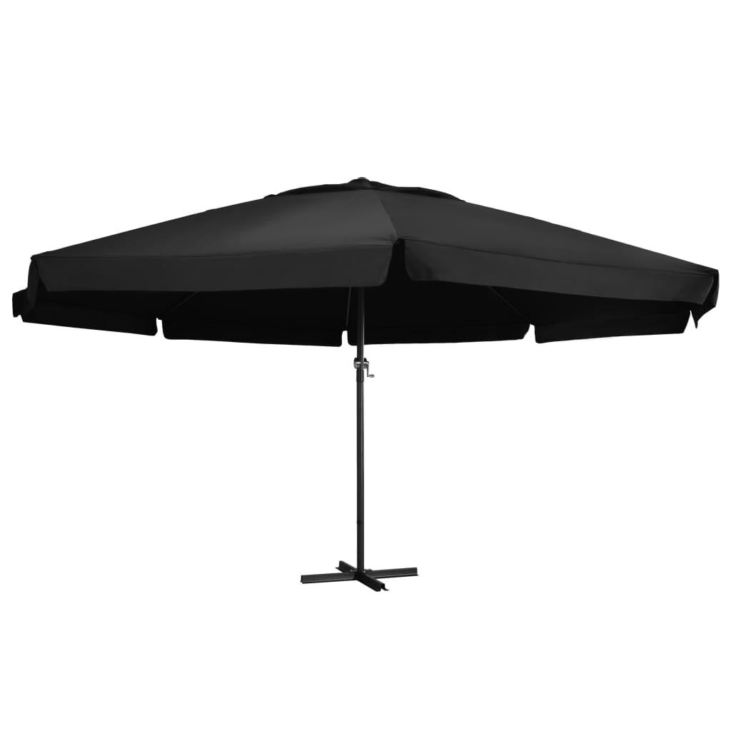vidaXL Vonkajší slnečník s hliníkovou tyčou 600 cm, čierny