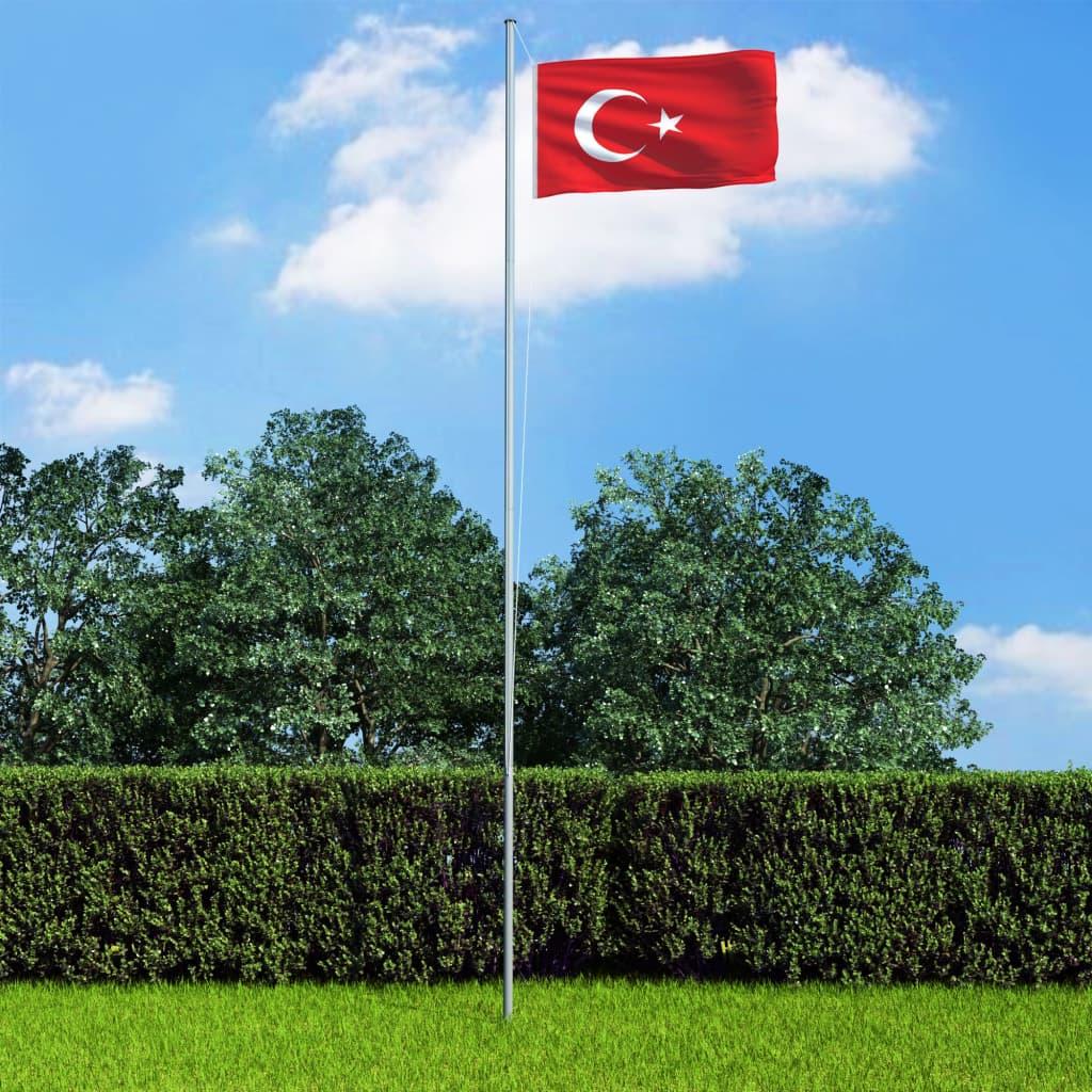 vidaXL Vlajka Turecko 90x150 cm