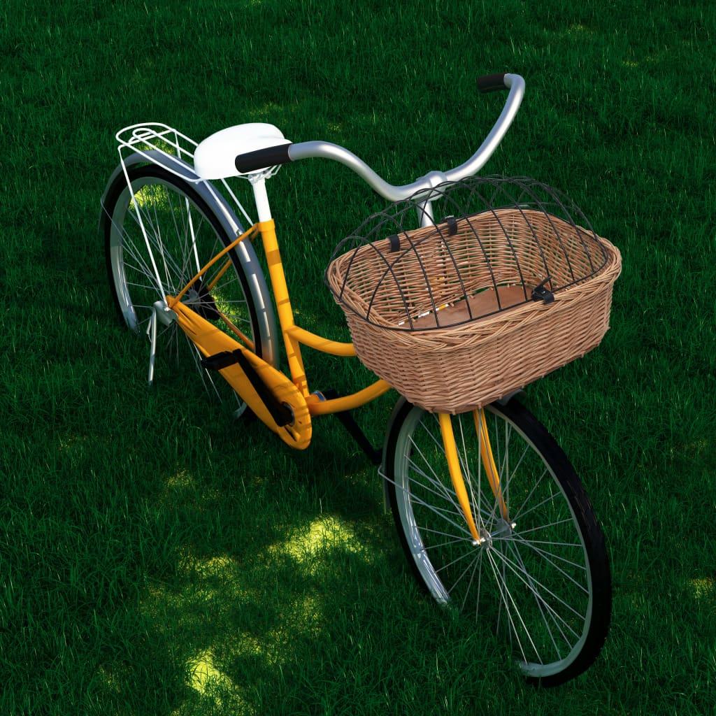 vidaXL Predný kôš na bicykel s poťahom 50x45x35 cm prírodná vŕba