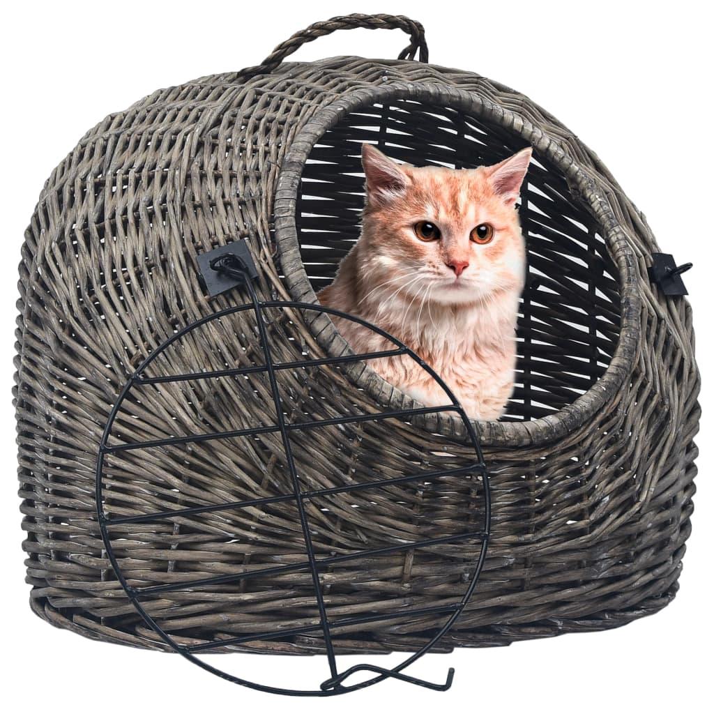 vidaXL Prepravka pre mačku sivá 45x35x35 cm prírodná vŕba