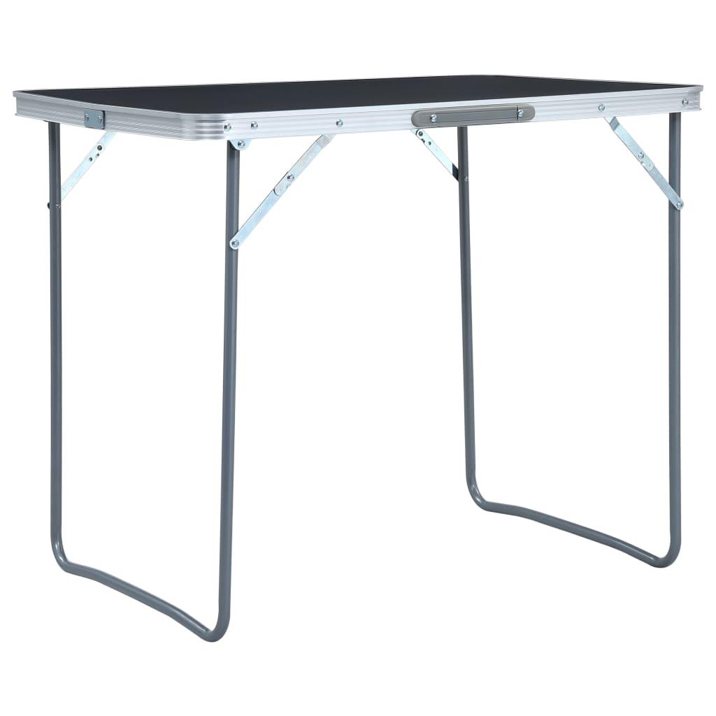 vidaXL Skladací kempingový stôl s kovovým rámom sivý 80x60 cm