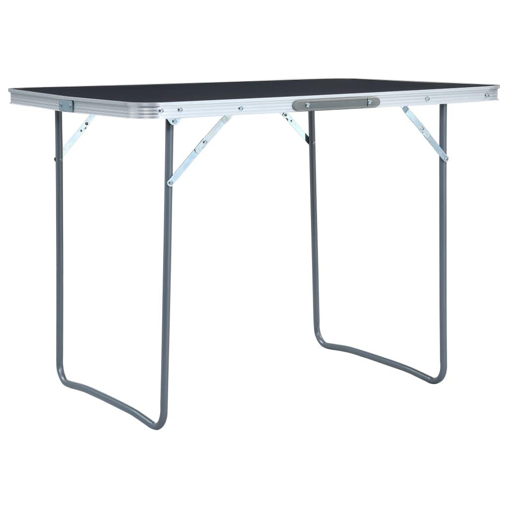 vidaXL Skladací kempingový stôl sivý 120x60 cm hliníkový