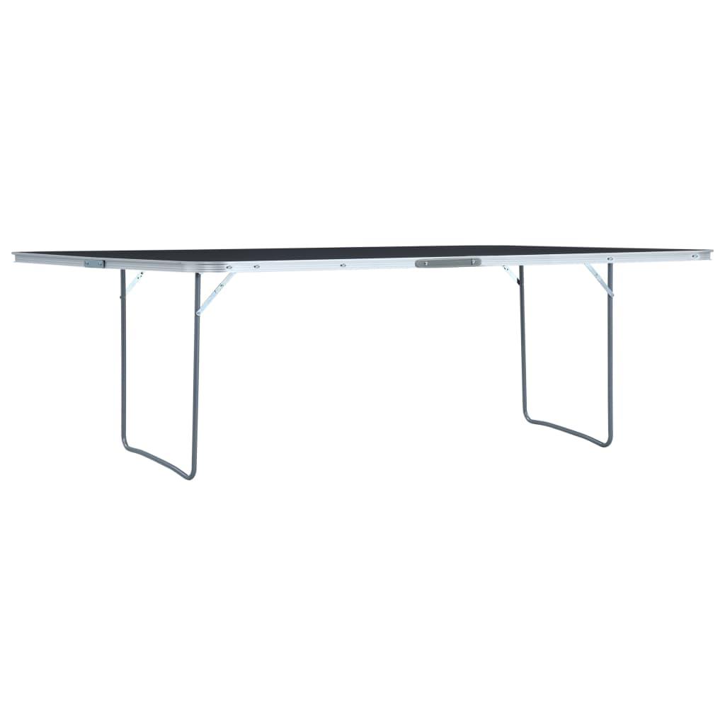 vidaXL Skladací kempingový stôl sivý 240x60 cm hliníkový