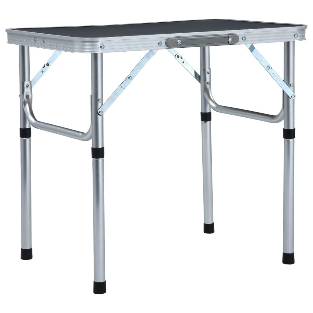 vidaXL Skladací kempingový stôl sivý 60x45 cm hliníkový