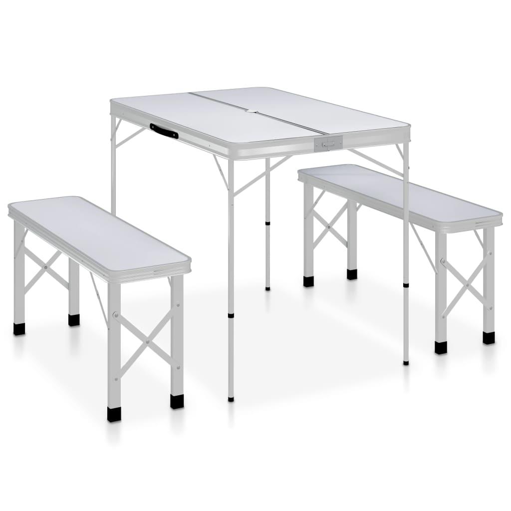 vidaXL Skladací kempingový stôl s 2 lavicami biely hliníkový