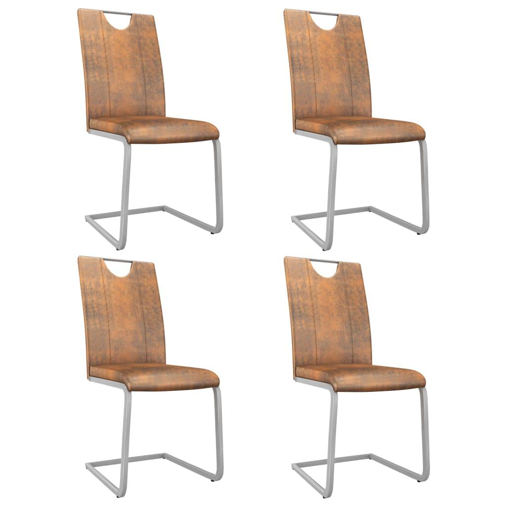 vidaXL Jedálenské stoličky 4 ks semišovo hnedé umelá koža
