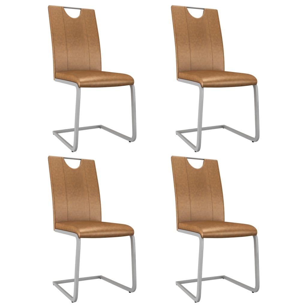 vidaXL Jedálenské stoličky 4 ks hnedé umelá koža