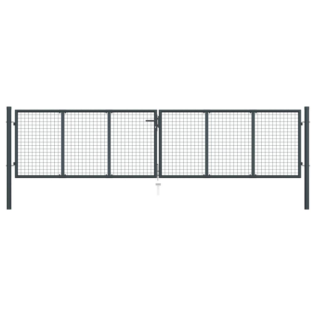 vidaXL Záhradná brána, pletivo, pozinkovaná oceľ 400x125 cm, sivá