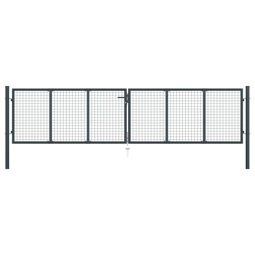 vidaXL Záhradná brána, pletivo, pozinkovaná oceľ 400x175 cm, sivá