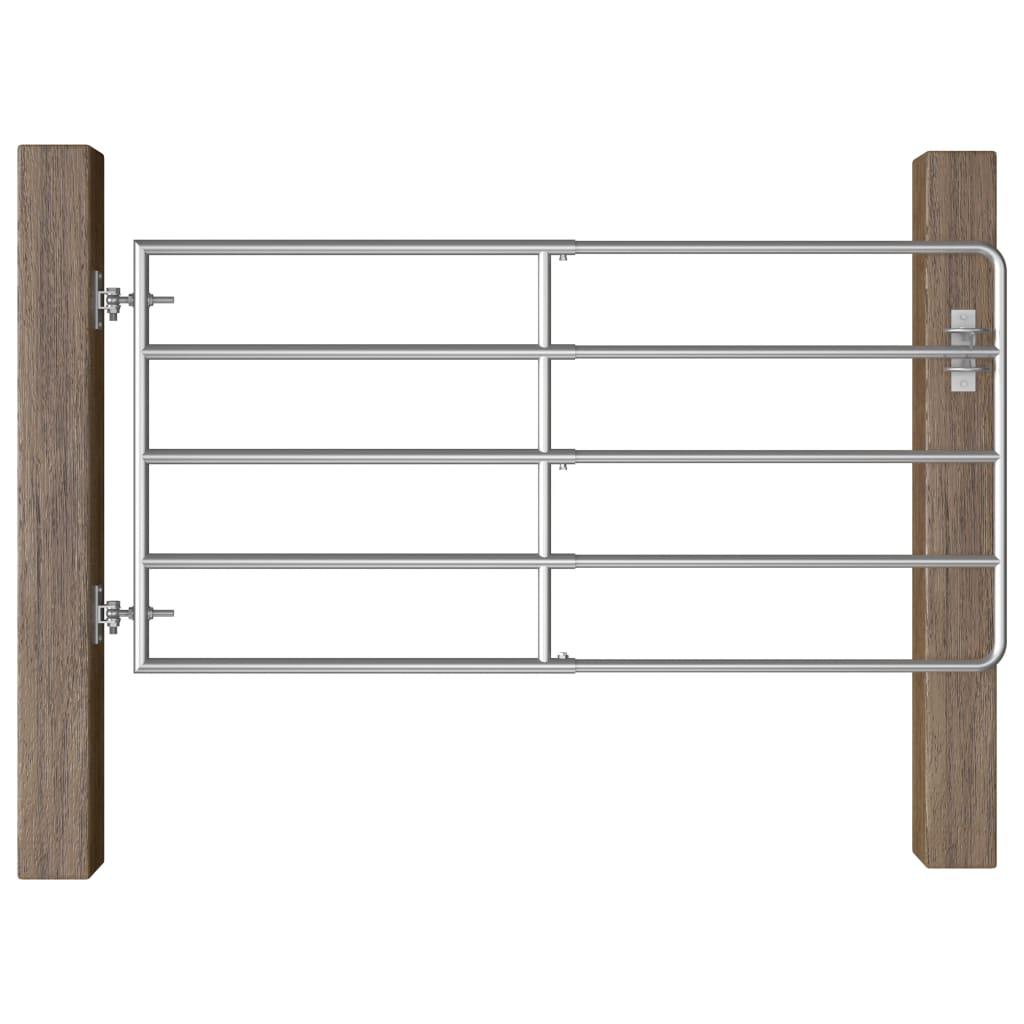 vidaXL Farmárska brána s 5 tyčami oceľová (95-170) x 90 cm strieborná
