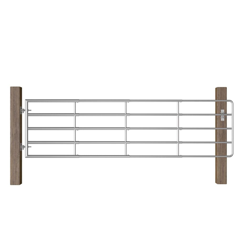 vidaXL Farmárska brána s 5 tyčami oceľová (115-300) x 90 cm strieborná