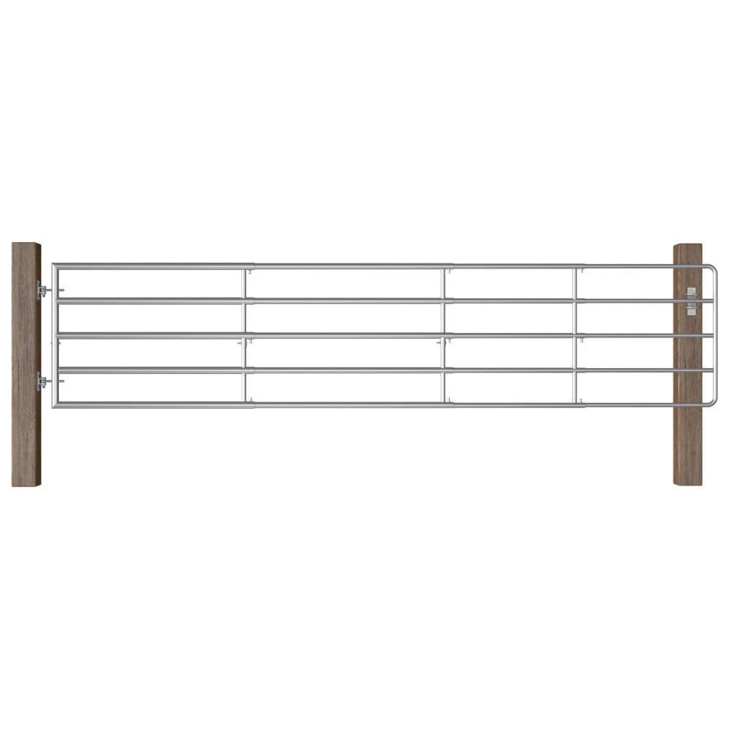 vidaXL Farmárska brána s 5 tyčami oceľová (150-400) x 90 cm strieborná