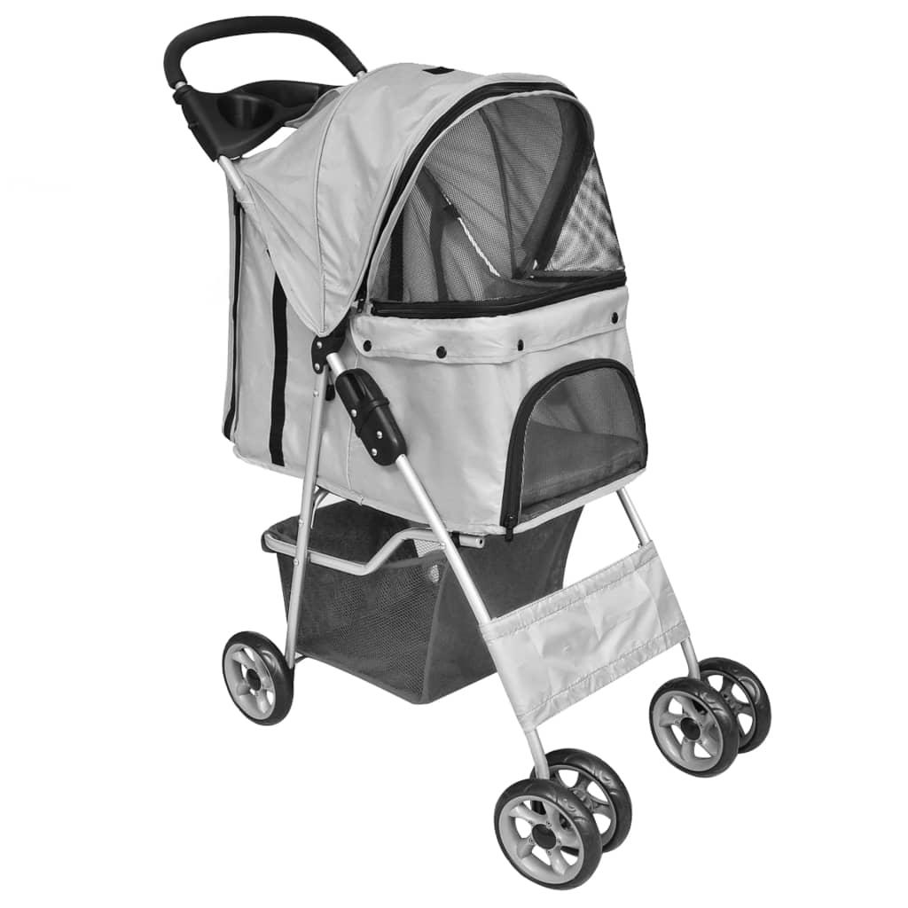 vidaXL Skladací kočík pre psov / mačky cestovná prepravka sivá