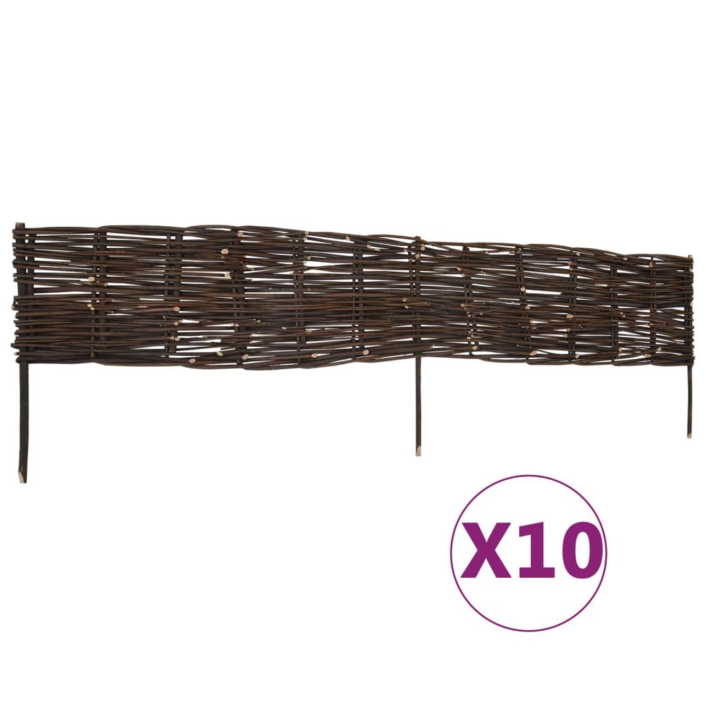 vidaXL Záhradné ploty z vŕbového prútia 10 ks, 120x35 cm