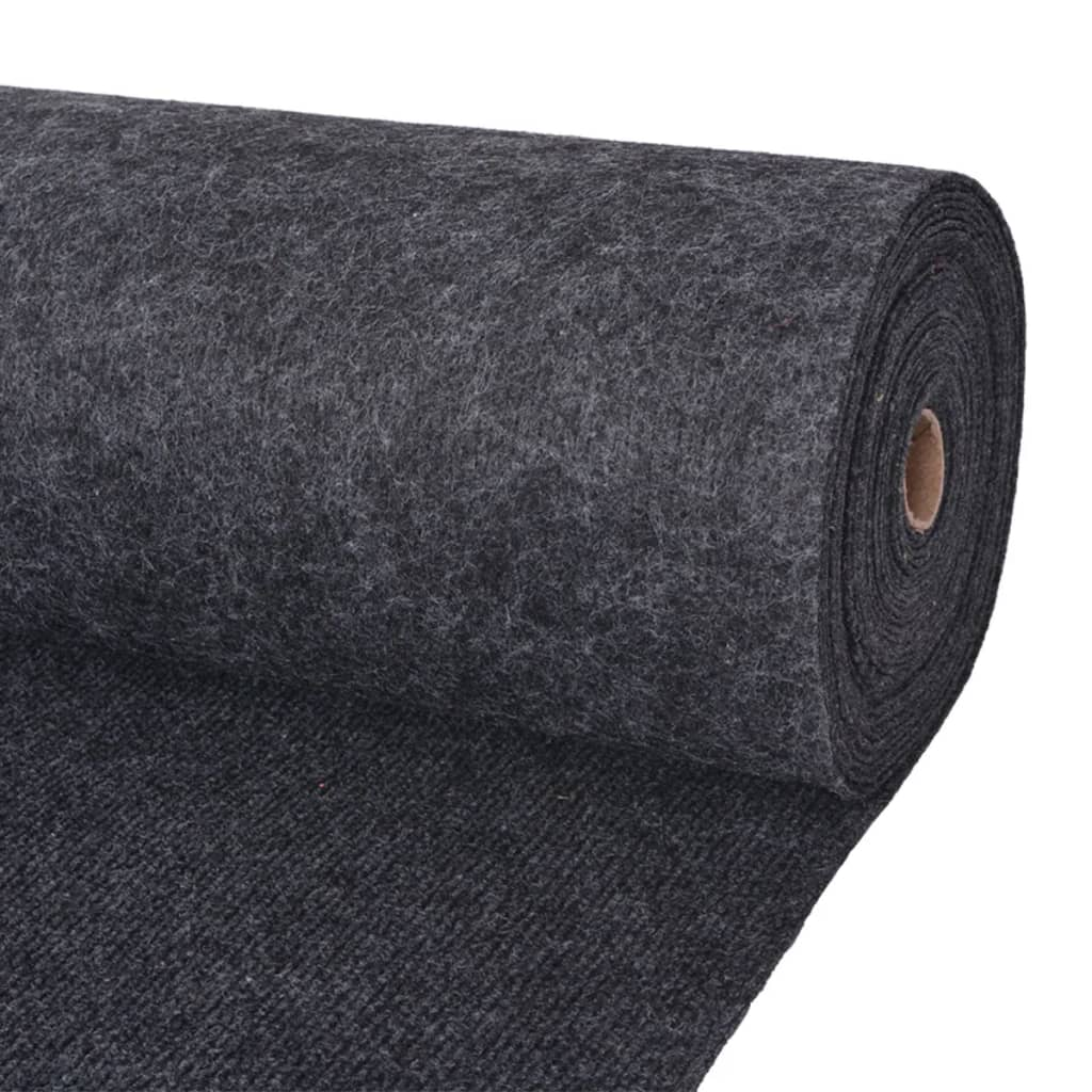 vidaXL Záťažový koberec antracitový 1,6x10 m rebrovaný