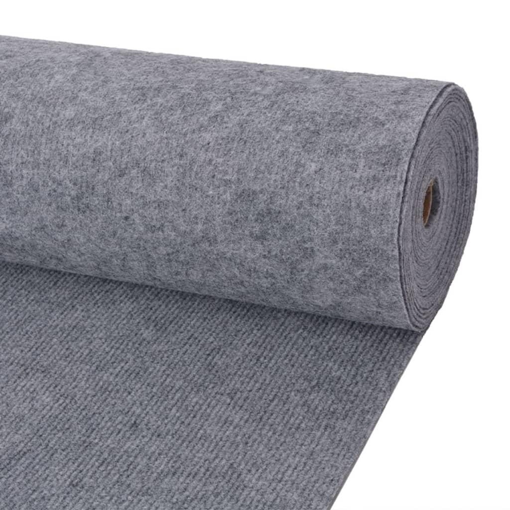 vidaXL Záťažový koberec sivý 1,6x10 m rebrovaný