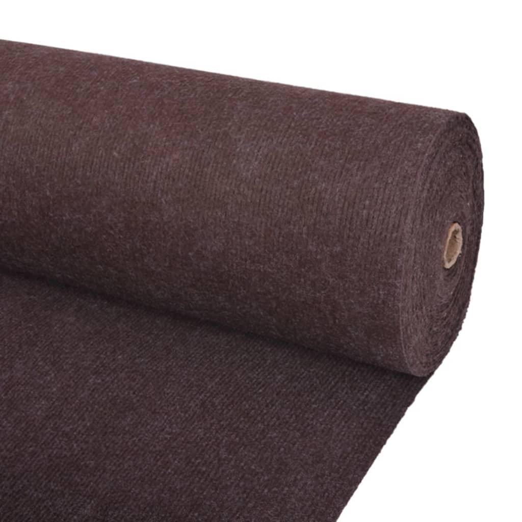 vidaXL Záťažový koberec hnedý 1,6x15 m rebrovaný