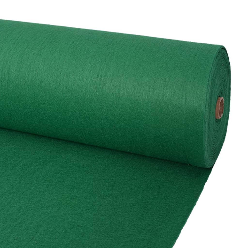 vidaXL Koberec na výstavu, jednofarebný 1,6x12 m, zelený