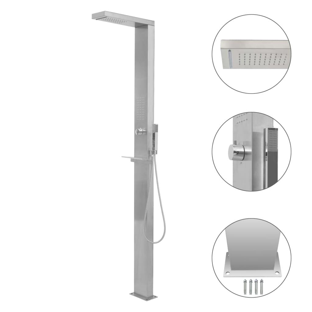 vidaXL Záhradný sprchový panel, nehrdzavejúca oceľ, štvorcový