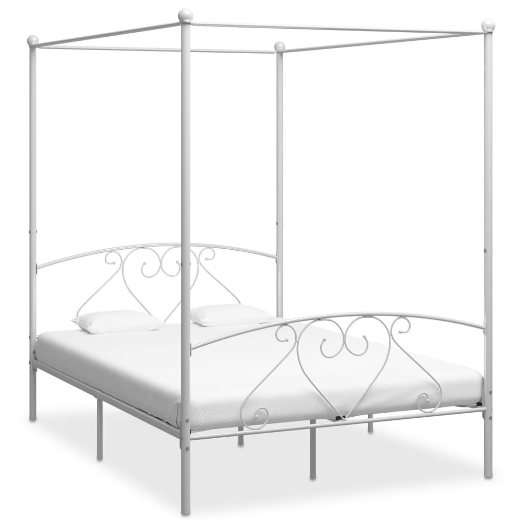 vidaXL Posteľný rám s baldachýnom, biely, kov 140x200 cm