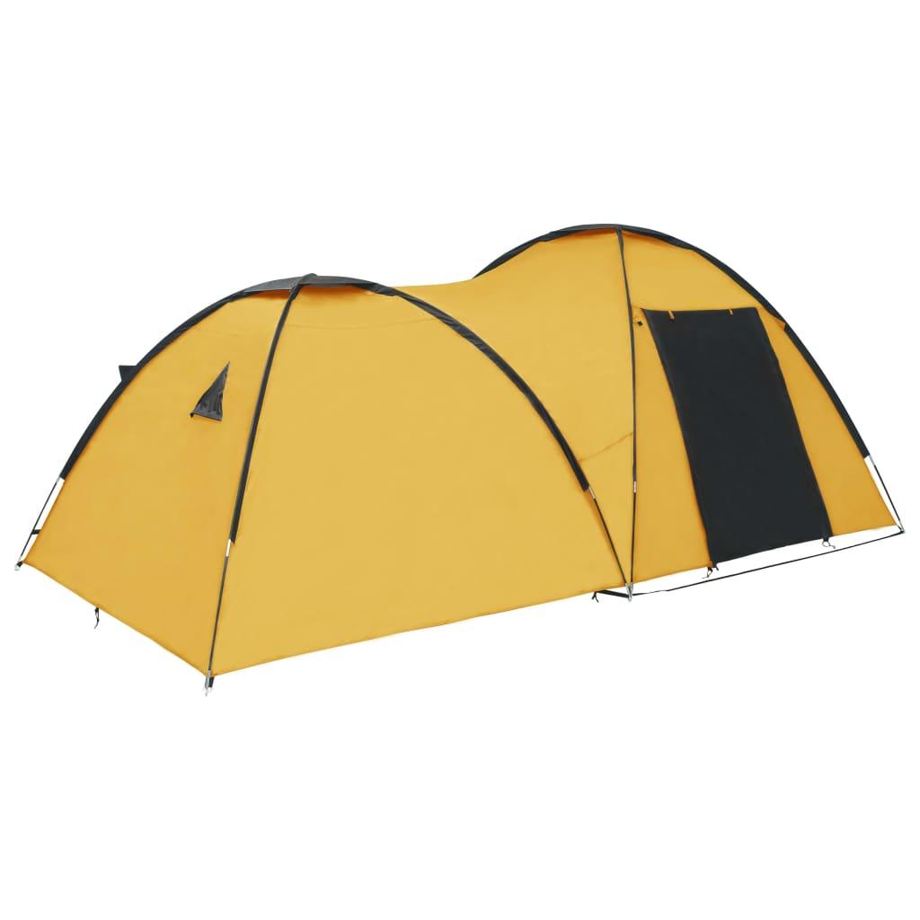 vidaXL Kempingový iglu stan žltý 450x240x190 cm pre 4 osoby