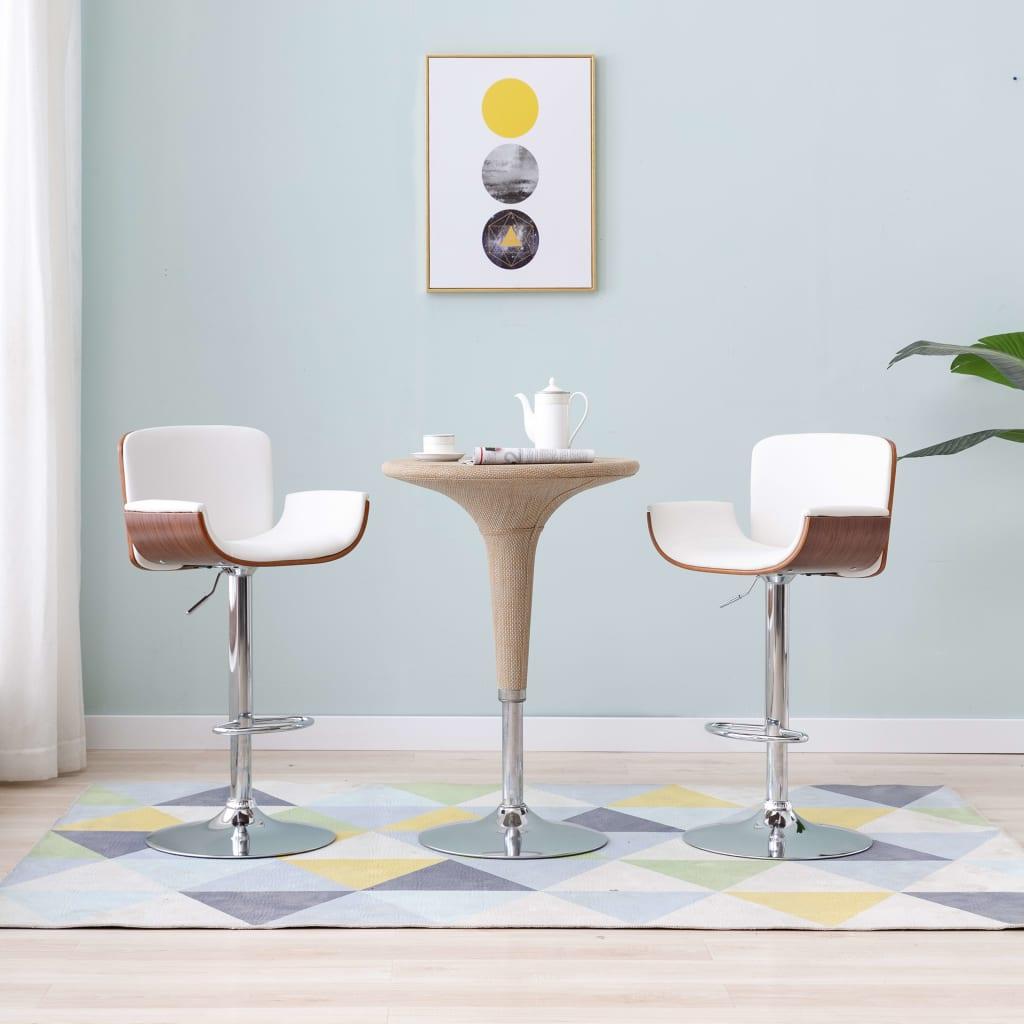 vidaXL Barová stolička, biela, umelá koža
