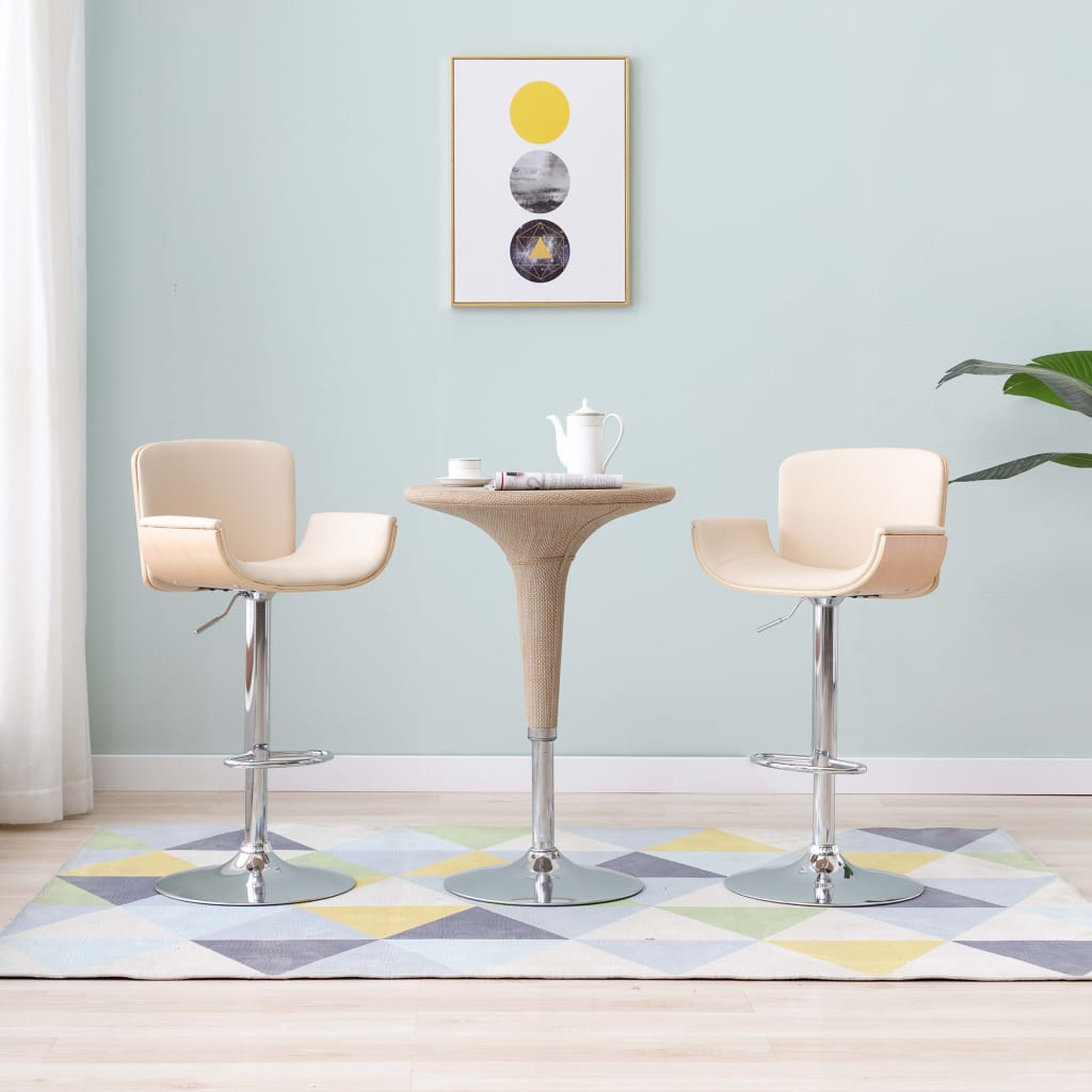 vidaXL Barová stolička, krémová, umelá koža