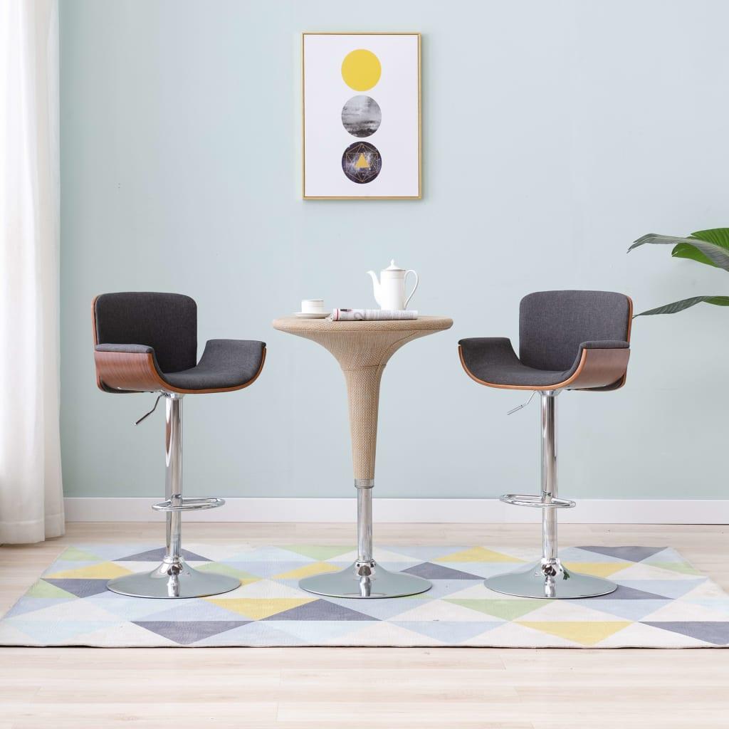 vidaXL Barová stolička, sivá, látka