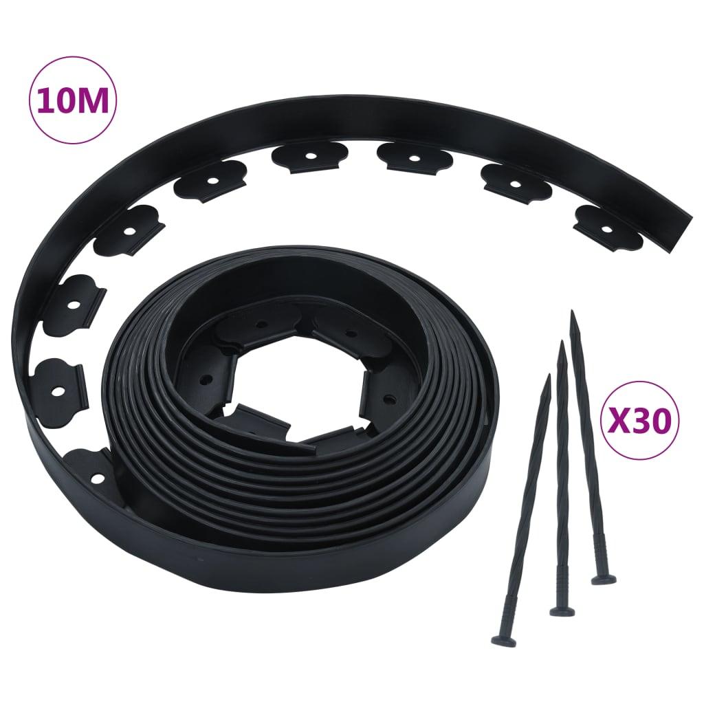 vidaXL Flexibilná obruba trávnika s 30 kolíkmi 10 m 5 cm