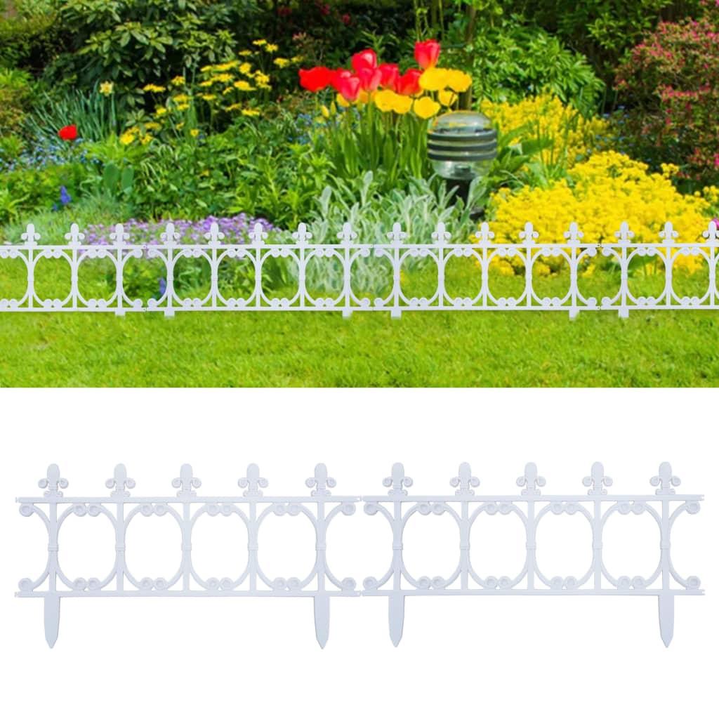 vidaXL Obruba trávnika 16 ks biela 10 m PP