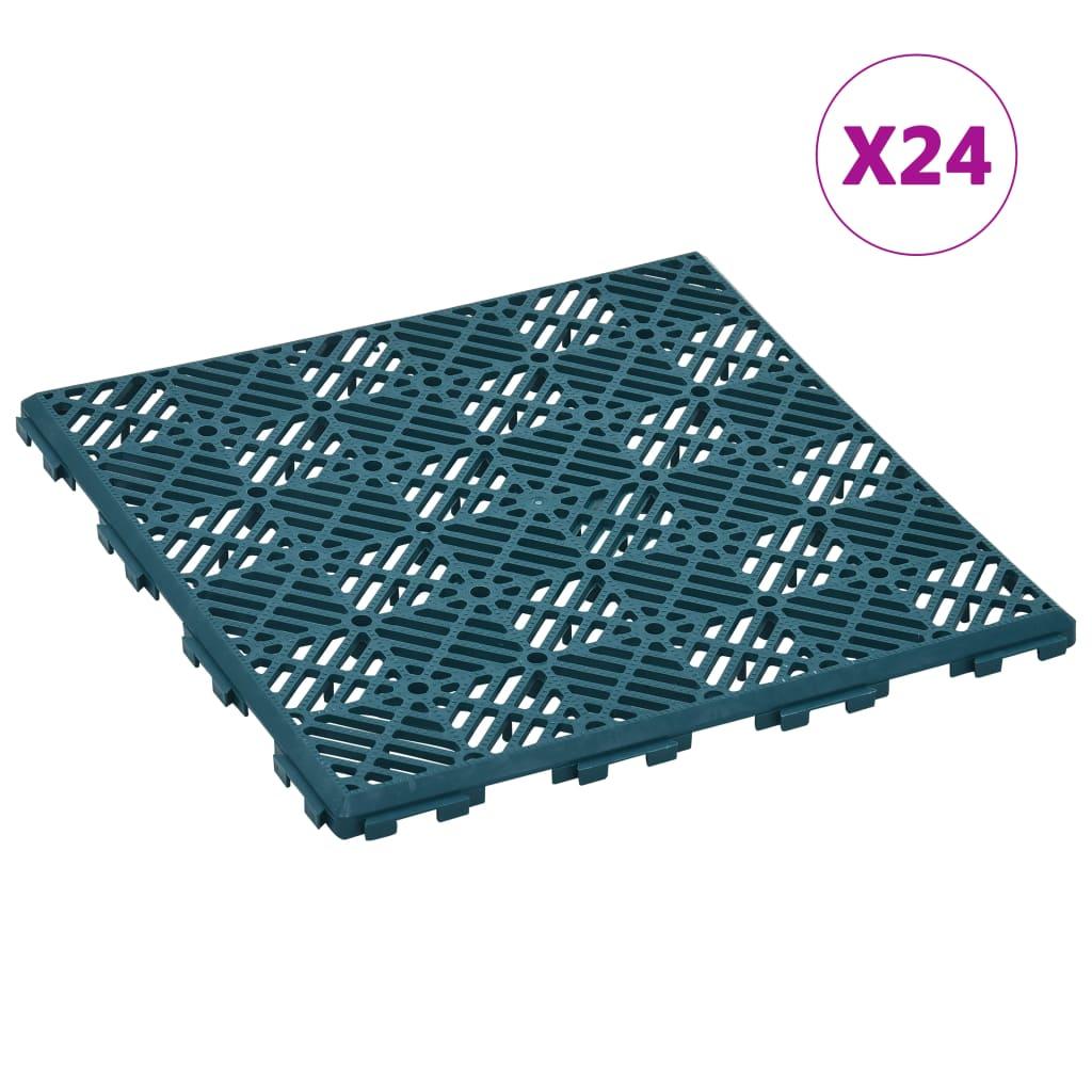 vidaXL Záhradné dlaždice 24 ks zelené 29x29 cm plastové