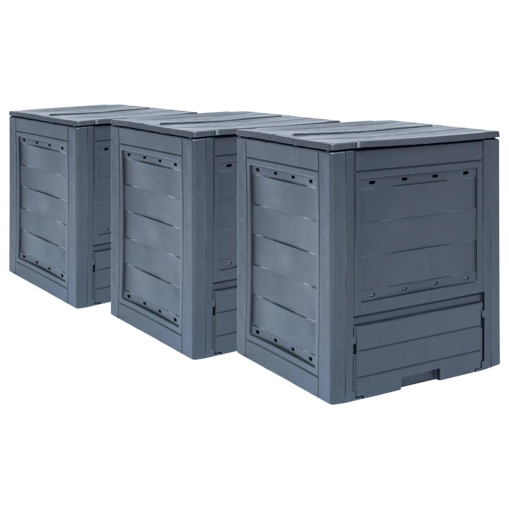 vidaXL Záhradné kompostéry 3 ks sivé 60x60x73 cm 780 l