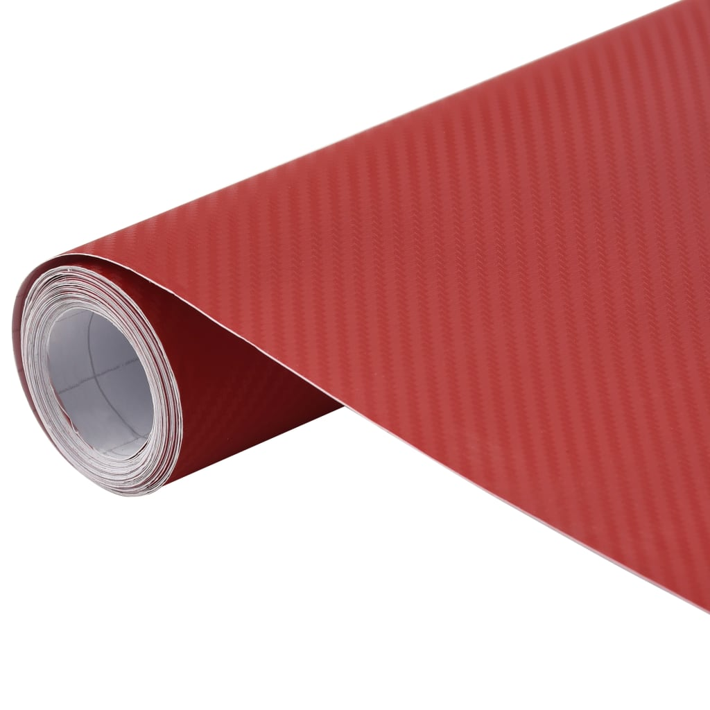 vidaXL Fólia na automobily matná 3D červená 500x152 cm