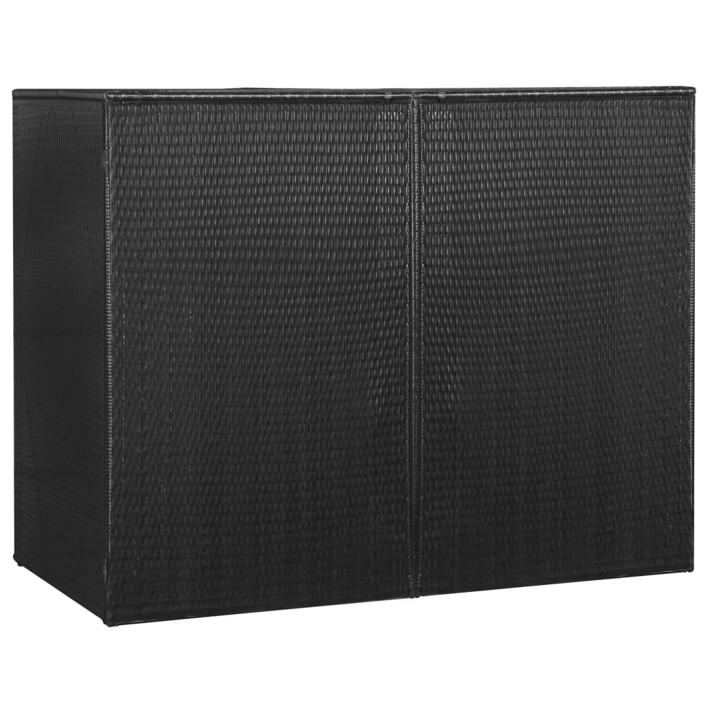 vidaXL Ohrada na dva odpadkové koše, čierna 153x78x120 cm, polyratan