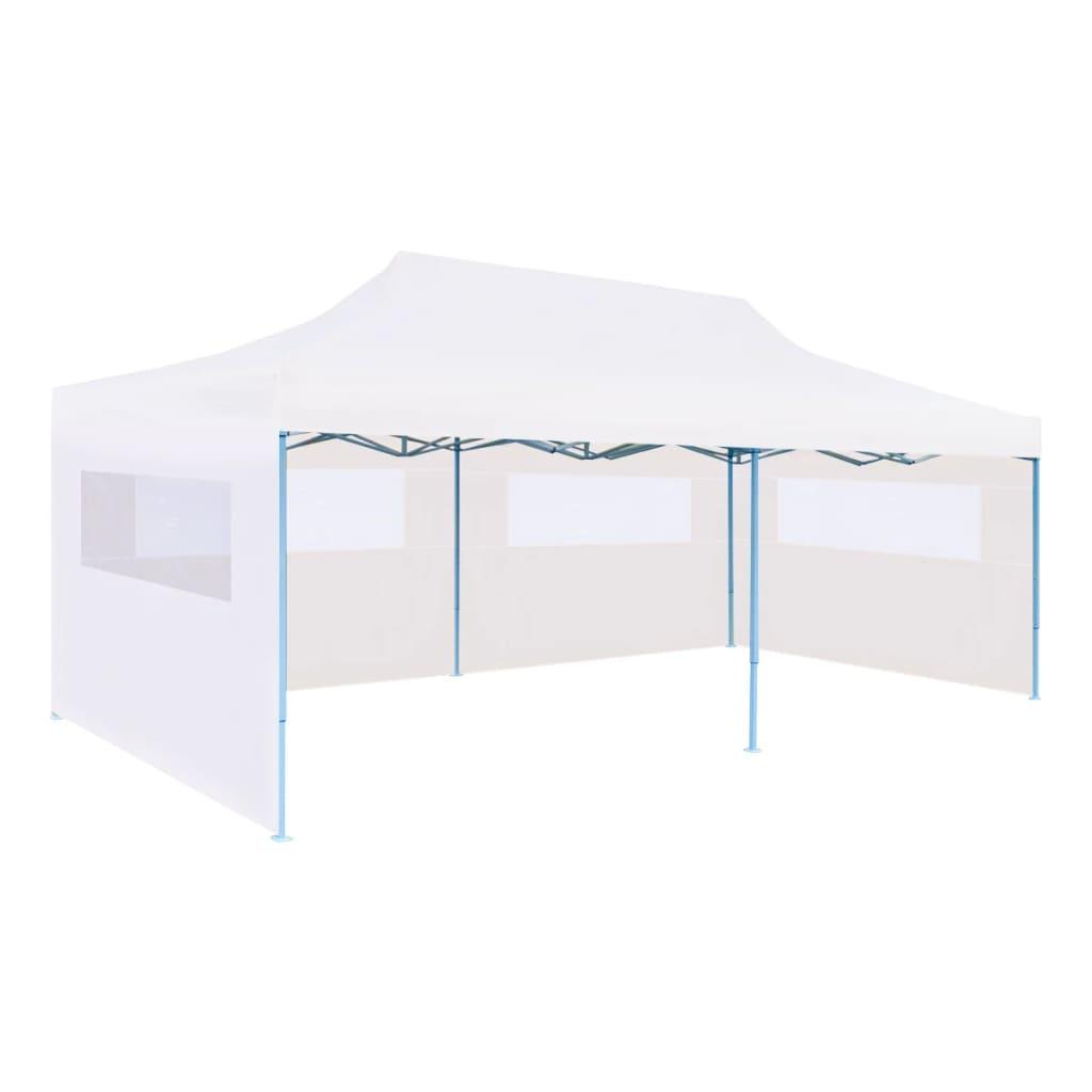 vidaXL Skladací párty stan s bočnými stenami 3x6 m oceľový biely