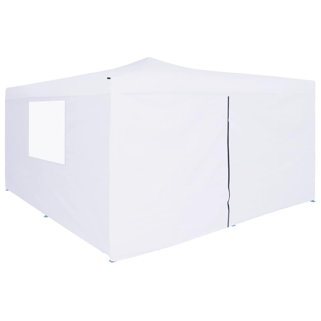 vidaXL Skladací altánok so 4 stenami 5x5 m, biely